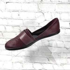 Vince calf hair burgundy loafers sz 7